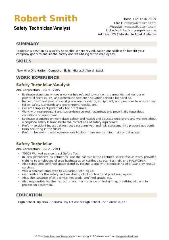 Safety Technician/Analyst Resume Example