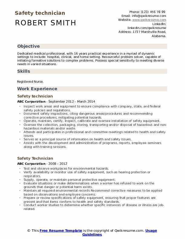 Safety Technician Resume example