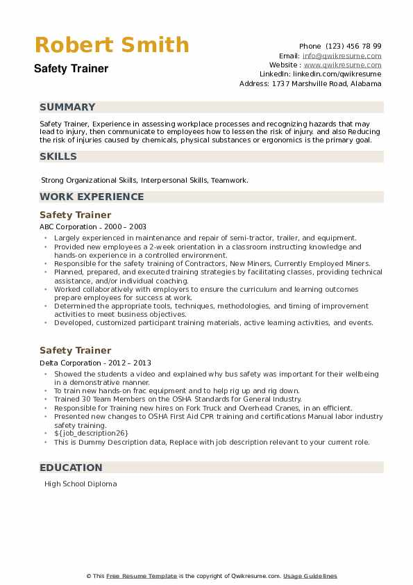 Safety Trainer Resume example