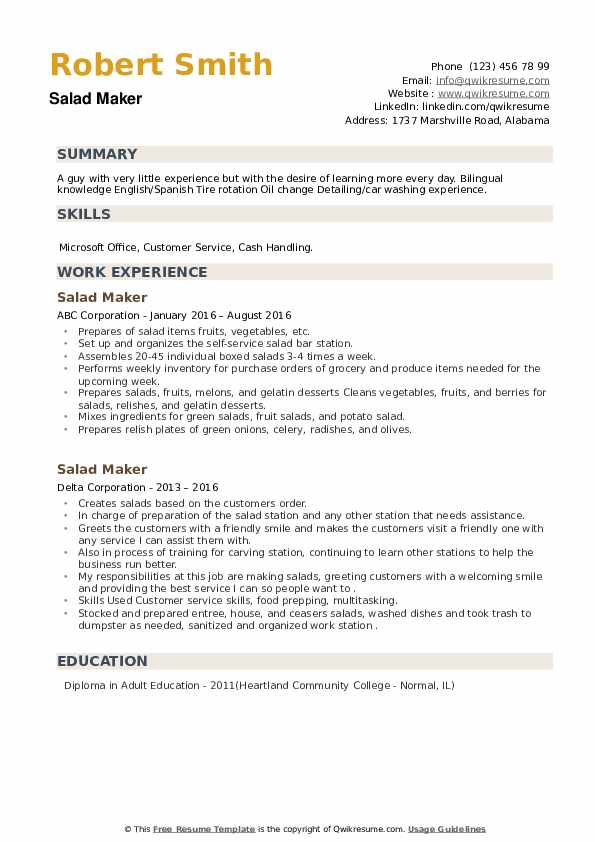 Salad Maker Resume example