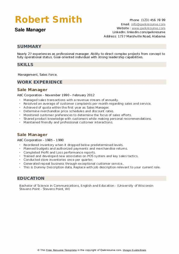 Sale Manager Resume example