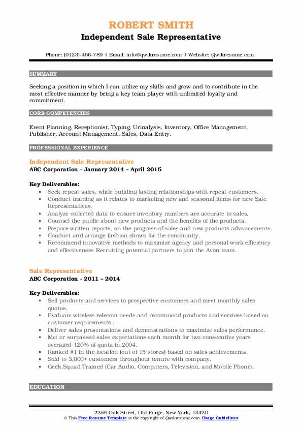 Independent Sale Representative Resume Example