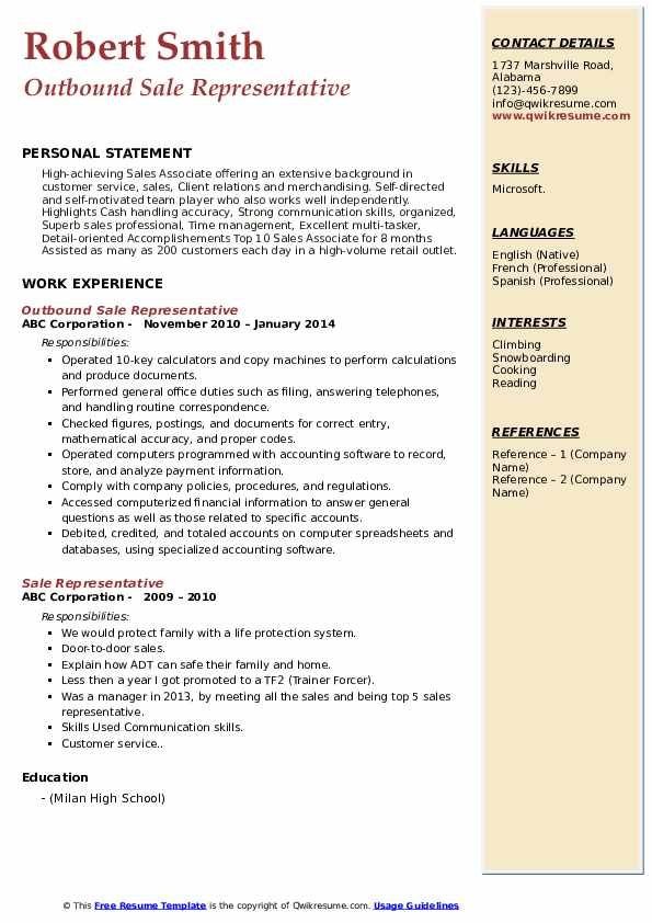 Outbound Sale Representative Resume Format