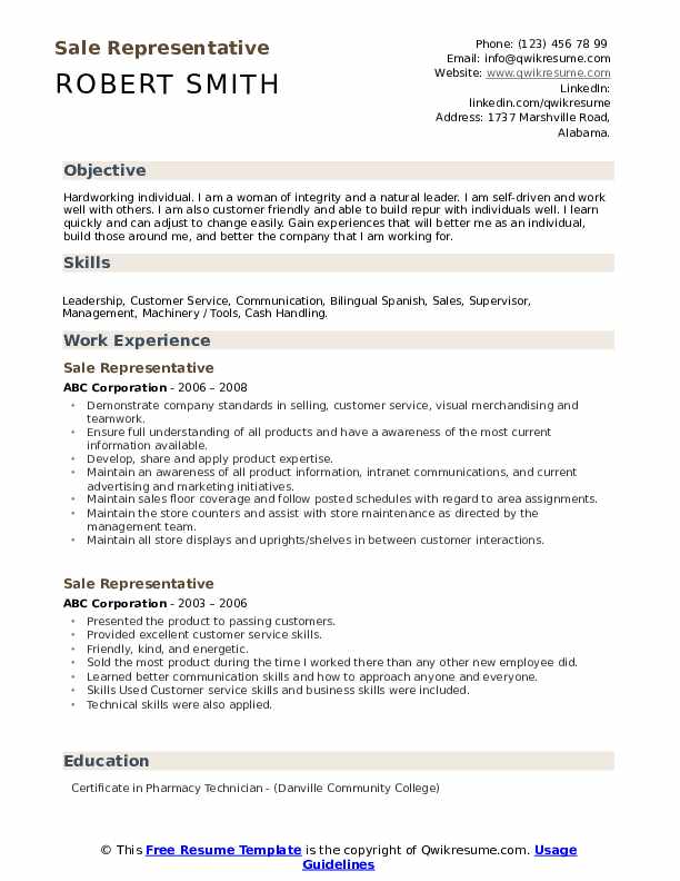 Sale Representative Resume example