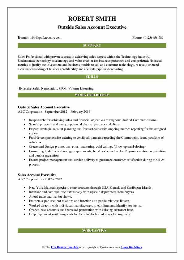 Outside Sales Account Executive Resume Model