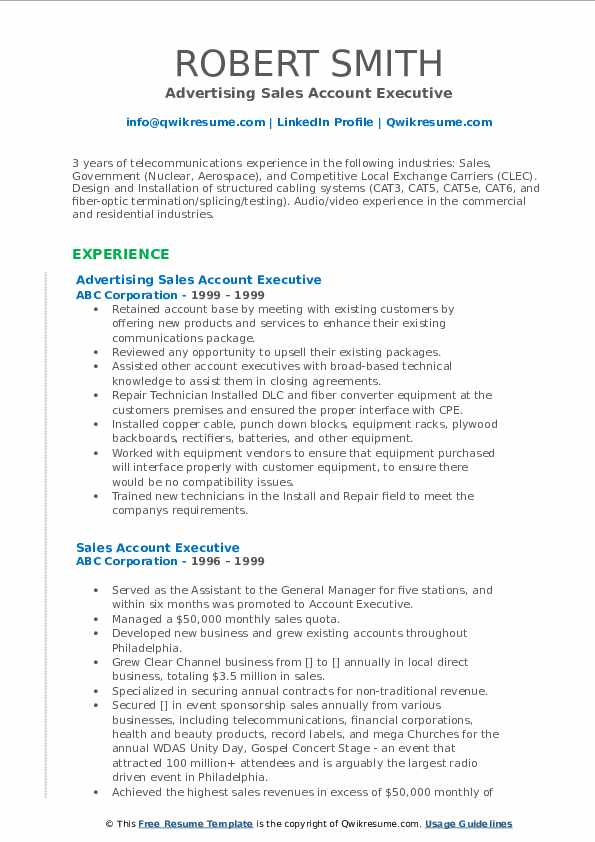 Advertising Sales Account Executive Resume Format