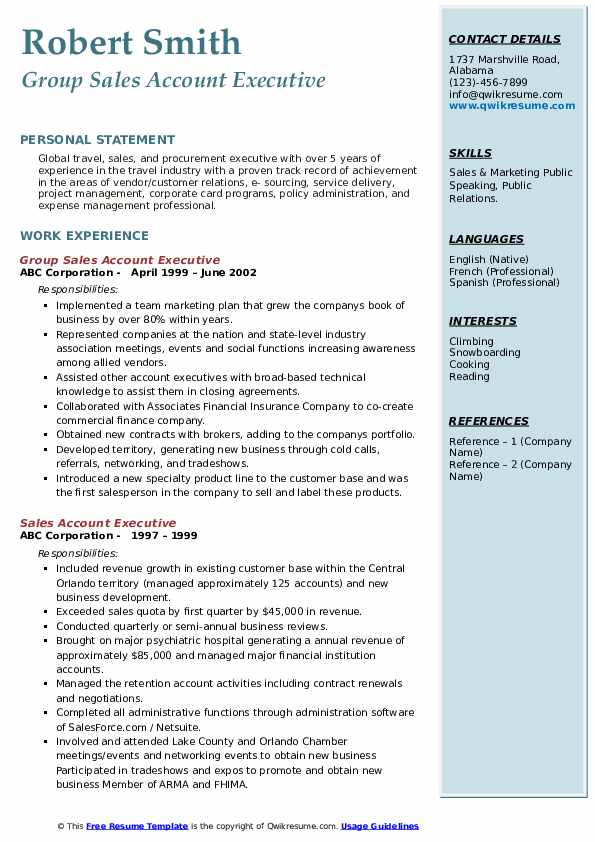 Group Sales Account Executive Resume Example