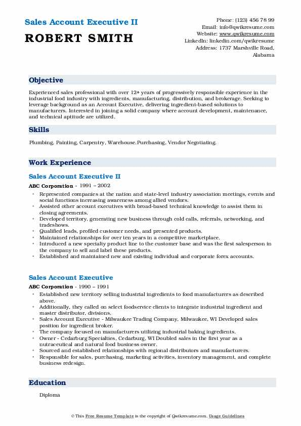 Sales Account Executive II Resume Sample
