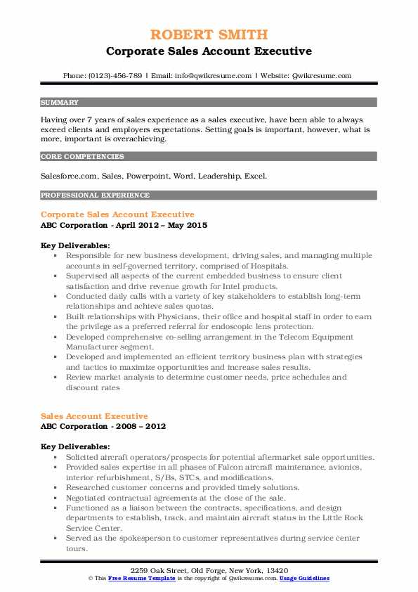 Corporate Sales Account Executive Resume Sample