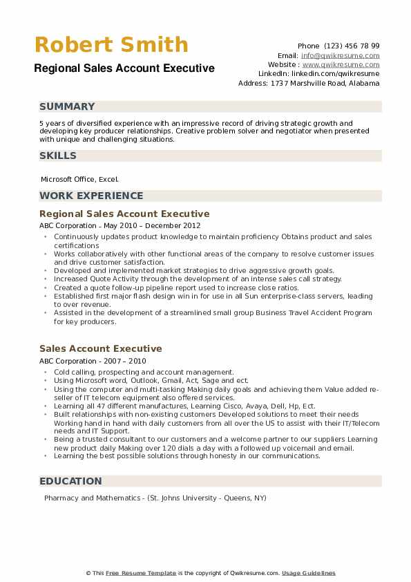 Regional Sales Account Executive Resume Format