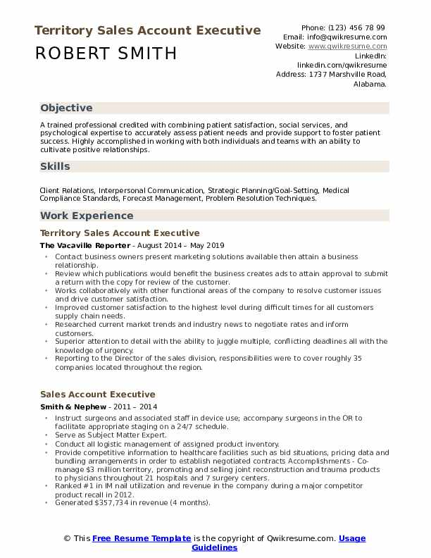 Territory Sales Account Executive Resume Sample