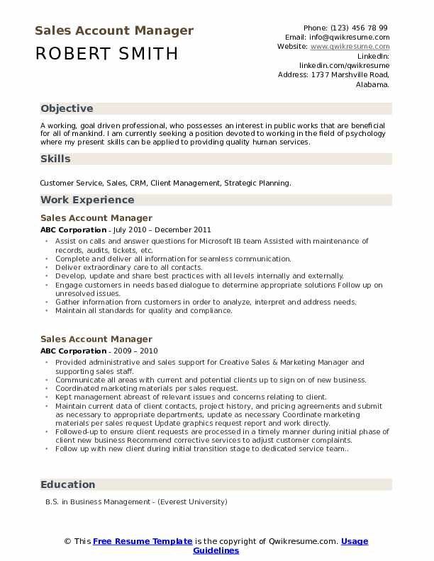 Sales Account Manager Resume Format
