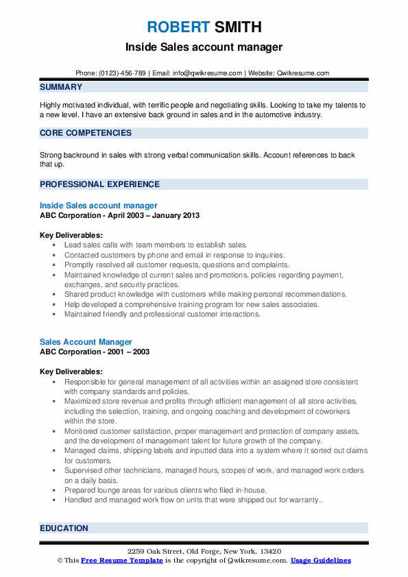 Inside Sales account manager Resume Format