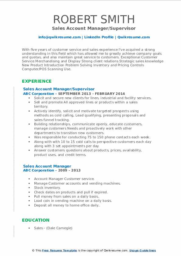 Sales Account Manager/Supervisor Resume Template