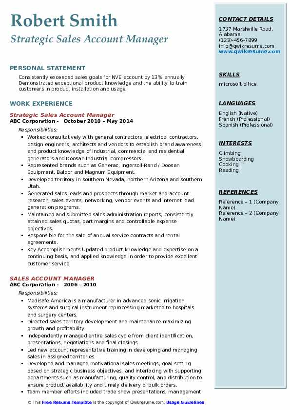 Strategic Sales Account Manager Resume Template