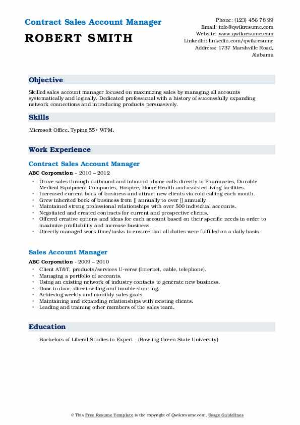 Contract Sales Account Manager Resume Sample
