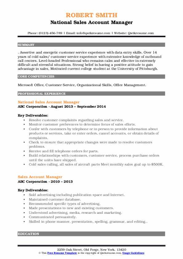 National Sales Account Manager Resume Sample