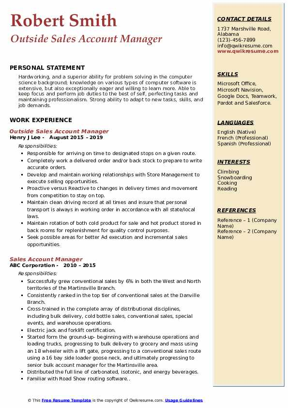 Outside Sales Account Manager Resume Sample