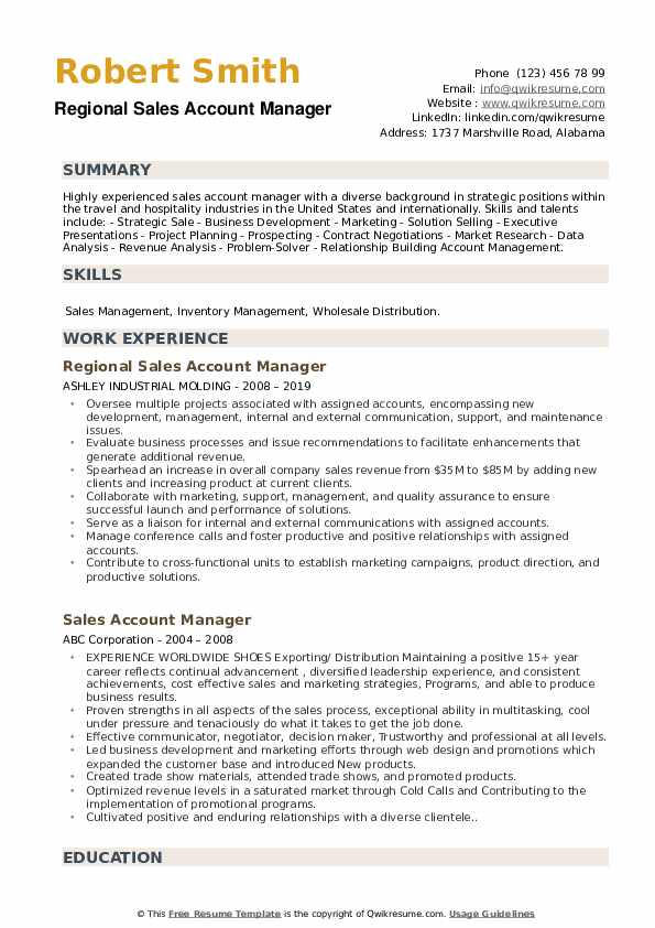 Regional Sales Account Manager Resume Model