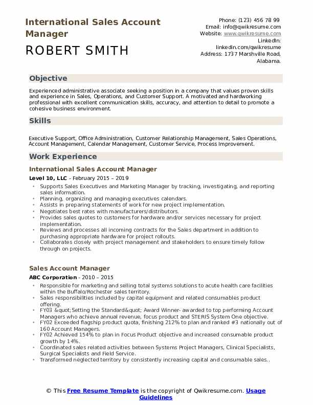 International Sales Account Manager Resume Model