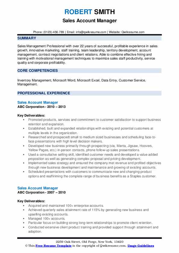 Sales Account Manager Resume Model