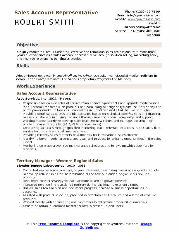 Sales Account Representative Resume Template