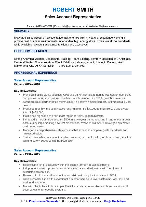 Sales Account Representative Resume Example