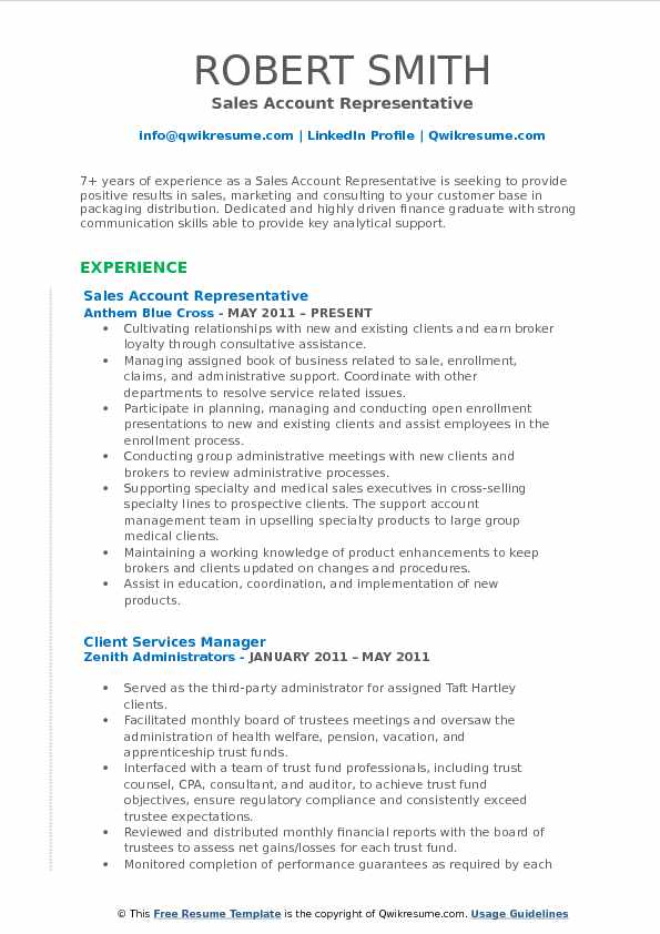 Sales Account Representative Resume Samples Qwikresume