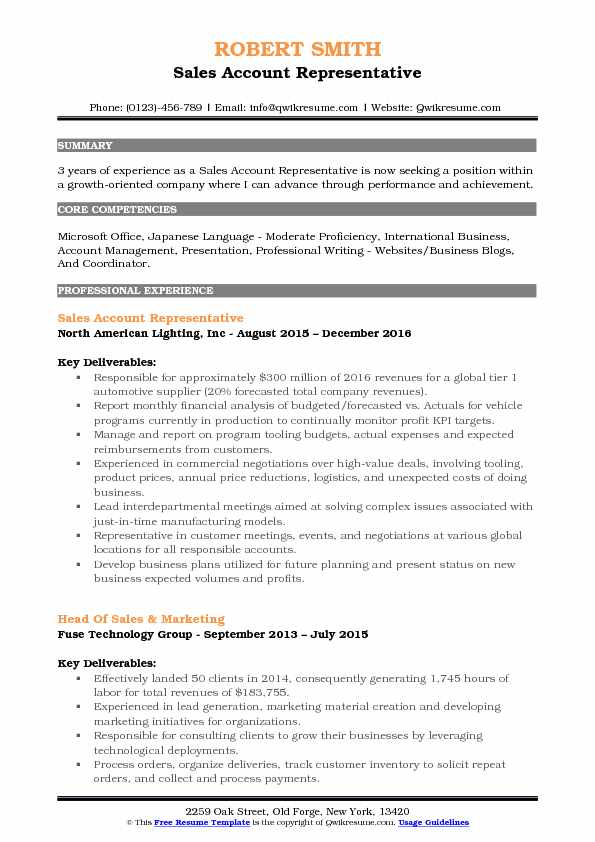 Sales Account Representative Resume Format