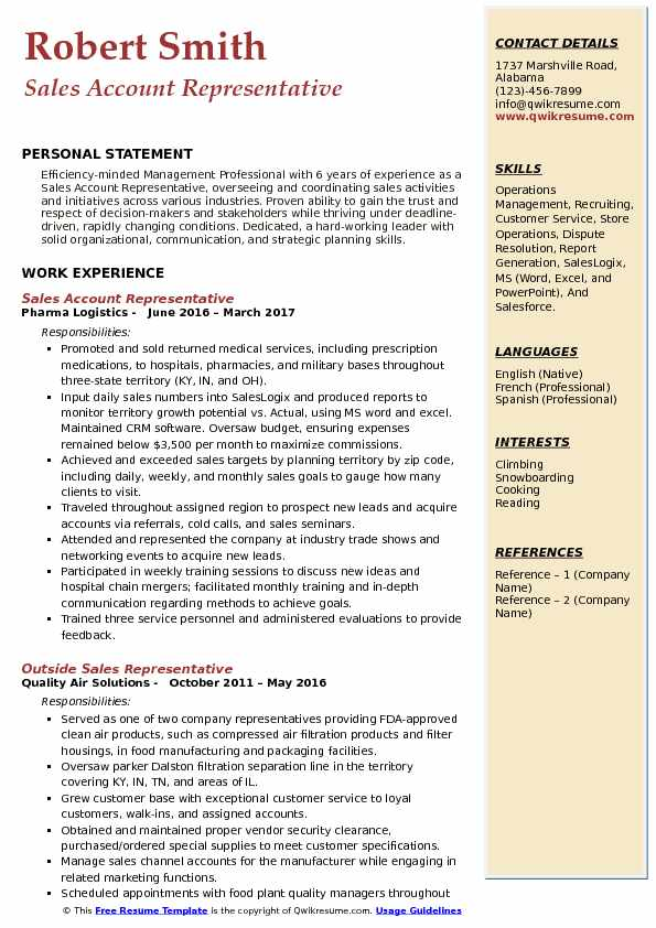 Sales Account Representative Resume Sample