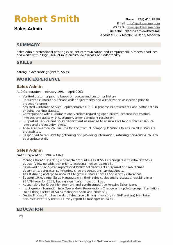 Sales Admin Resume example