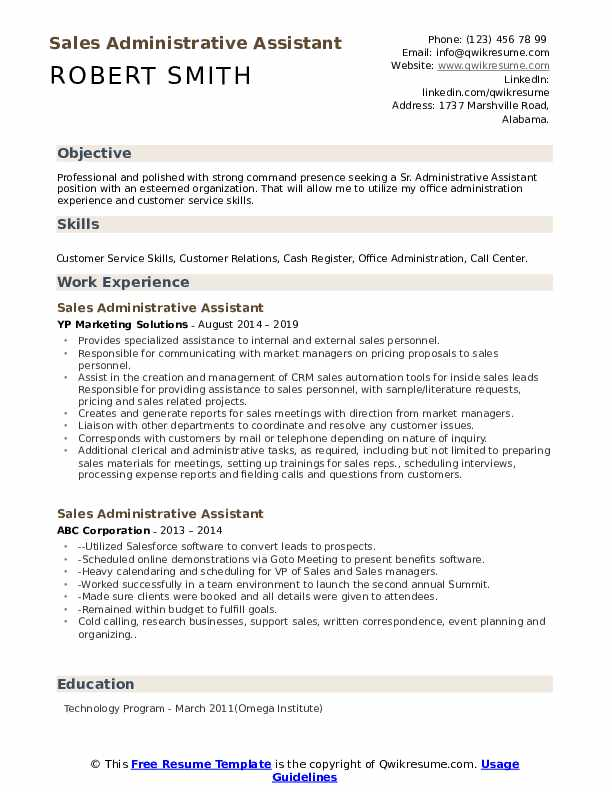 Sales Administrative Assistant Resume Samples Qwikresume