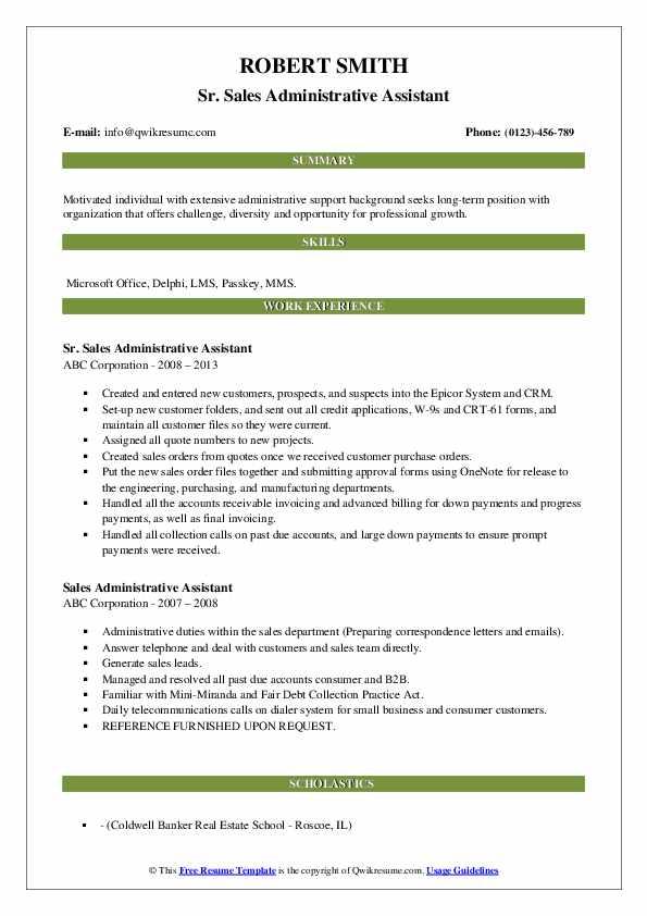 Sr. Sales Administrative Assistant Resume Sample