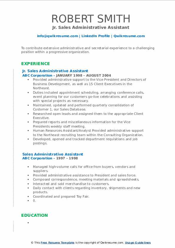 Jr. Sales Administrative Assistant Resume Example