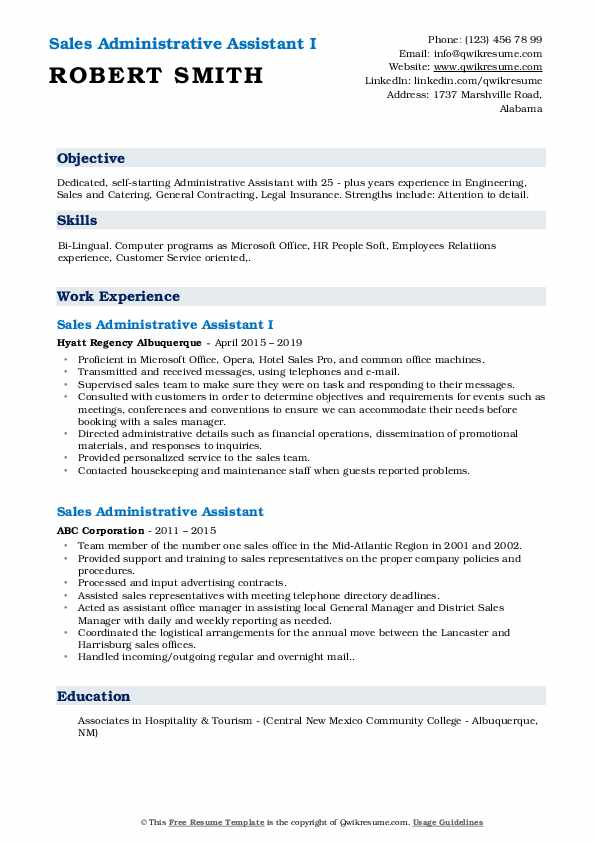 Sales Administrative Assistant I Resume Template