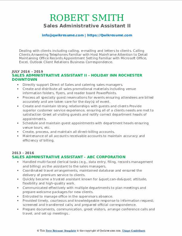 Sales Administrative Assistant II Resume Format