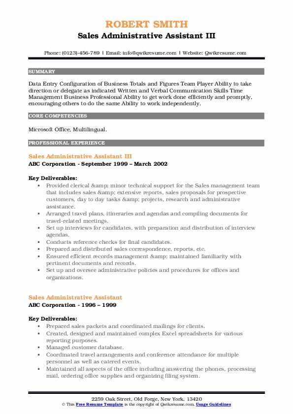 Sales Administrative Assistant III Resume Format