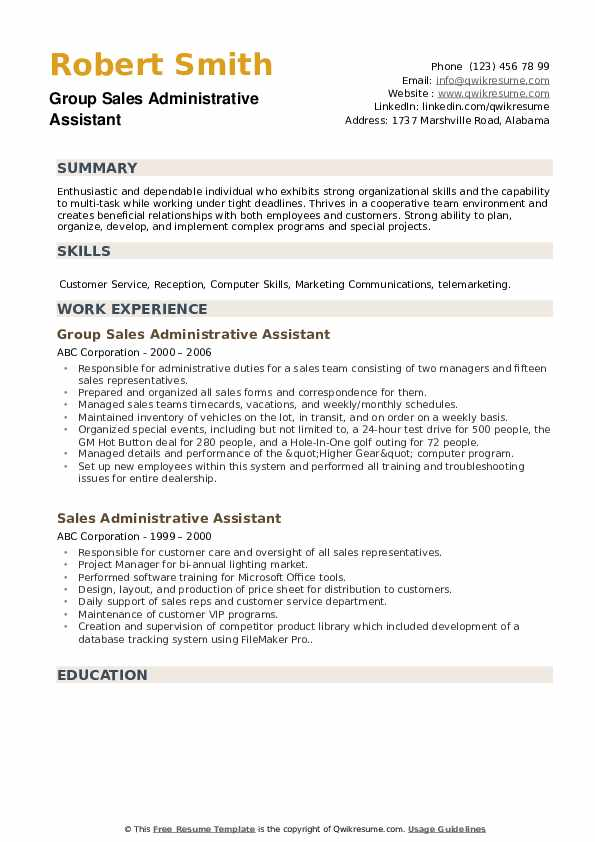 Group Sales Administrative Assistant Resume Format