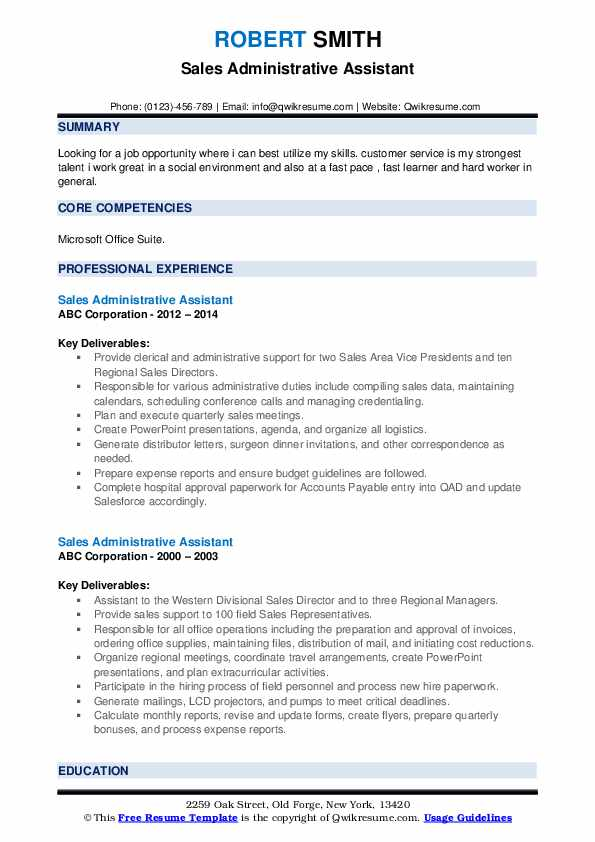 Sales Administrative Assistant Resume example