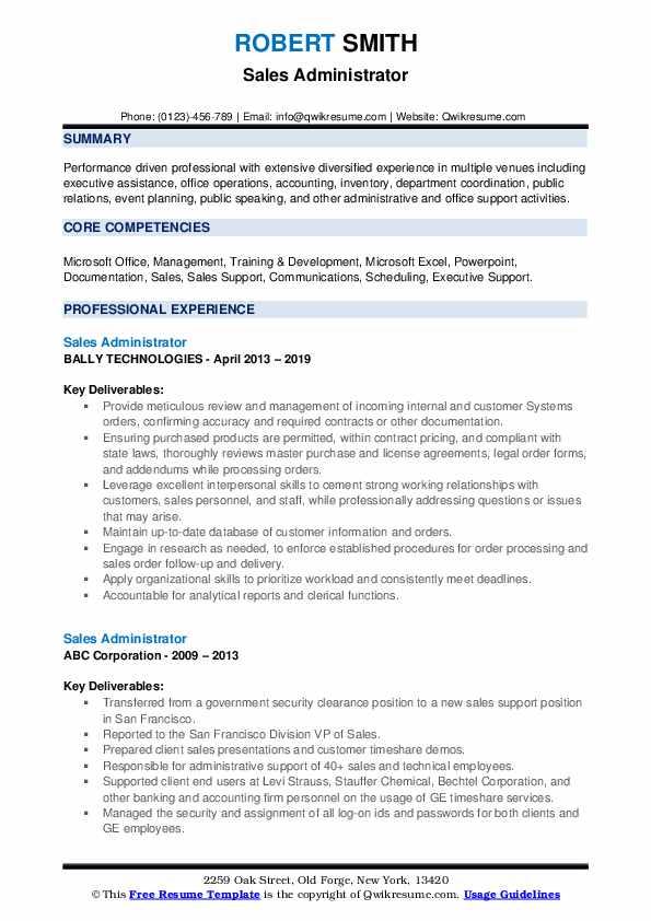 Sales Administrator Resume Example