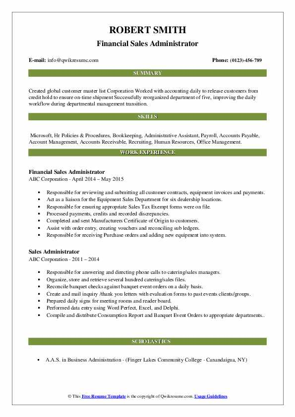 Financial Sales Administrator Resume Example