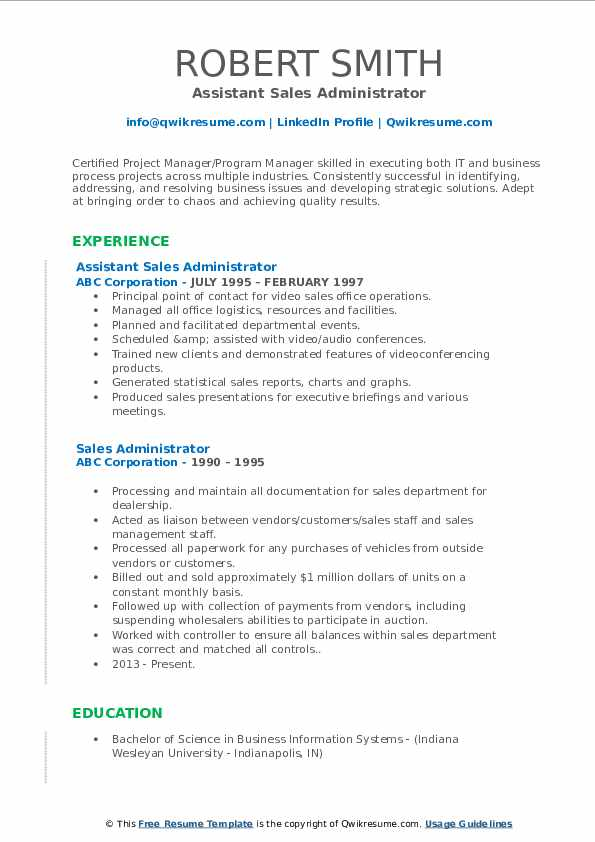 Assistant Sales Administrator Resume Example