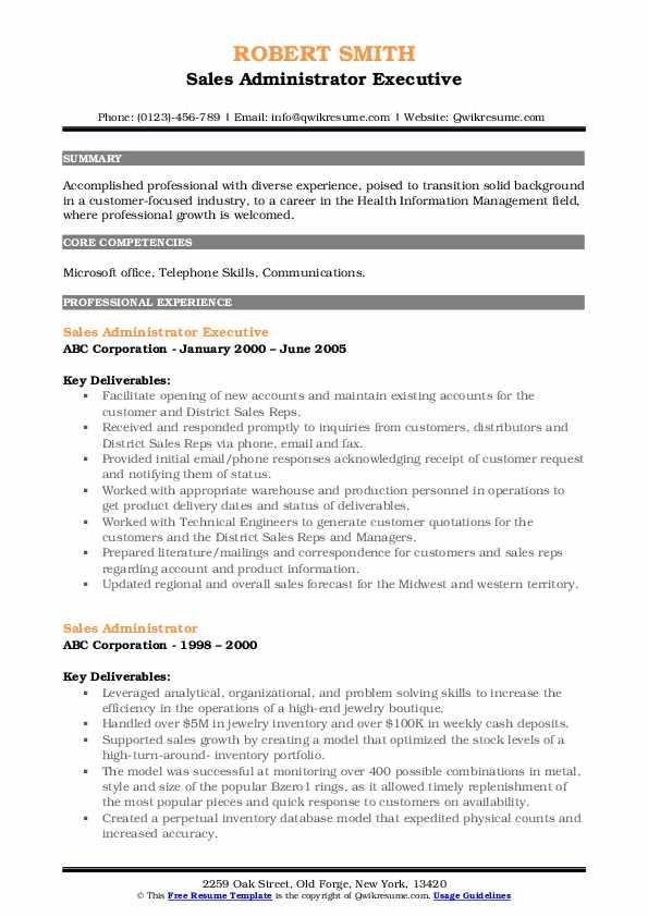 Sales Administrator Executive Resume Example