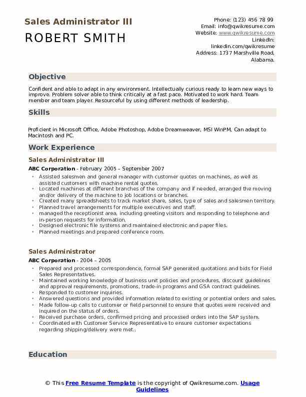 Sales Administrator III Resume Model