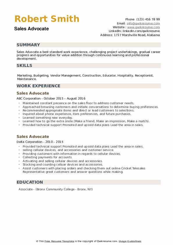 Sales Advocate Resume example
