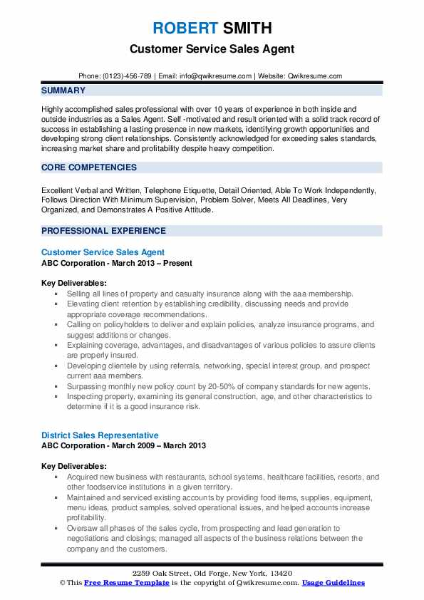 Customer Service Sales Agent Resume Model