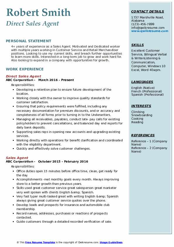 Direct Sales Agent Resume Example