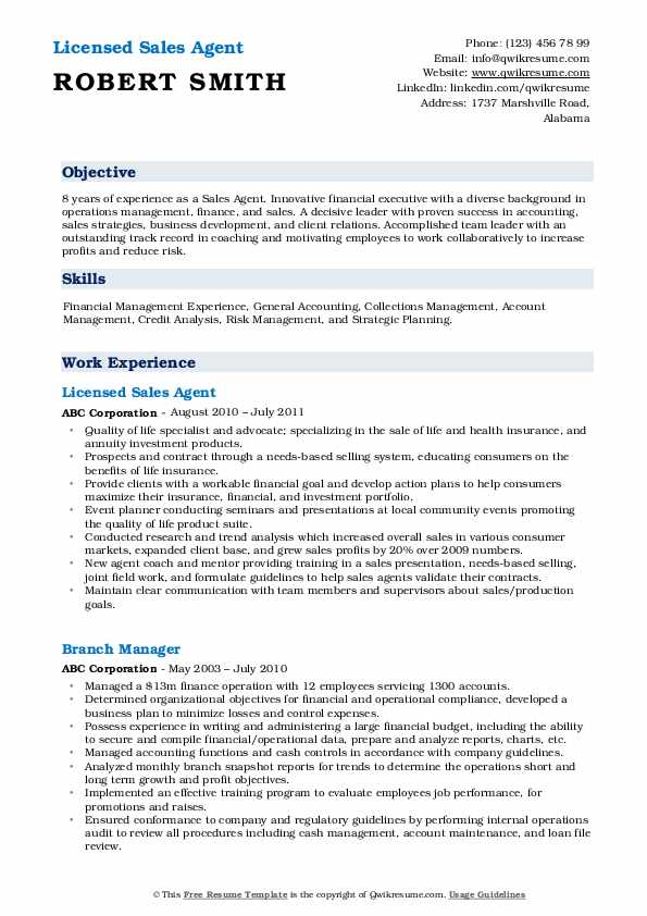 Licensed Sales Agent Resume Format