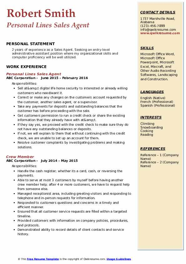 Personal Lines Sales Agent Resume Sample