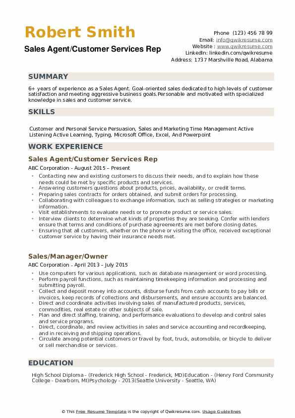 Sales Agent/Customer Services Rep Resume Example